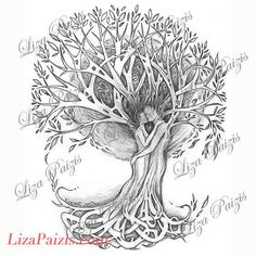 Tree of Love Tattoo design original romatic tree drawing of lovers in a tree with celtic knot design Body Art Tattoos, Tattoo Drawings, Tattoo Names, Tatoos, Tattoo Familie, Tree Roots Tattoo, Family Tree Designs, Celtic Knot Designs, Tree Tattoo Designs