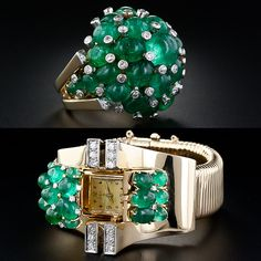 Trabert & Hoeffer - Mauboussin Retro Emerald Bracelet Watch and Cocktail Ring