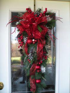 Holiday Swags | Christmas Door Swag, Christmas Teardrop Swag, Red Christmas Swag, Red ...