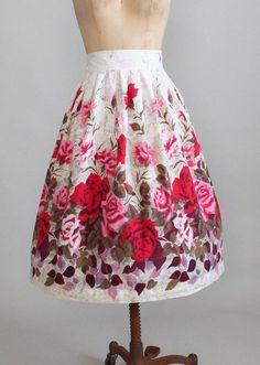 1950s rose garden novelty print cotton skirt