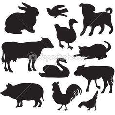 Siluetas de animales de granja dibujadas a mano. perro, gato, pato, conejo, vaca, cerdo, gallo, gallina, cisne, cachorro, gatito. — Vector de stock