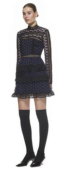 10fc9c1b227d High Neck Star Lace Paneled Dress Self Portrait Dress