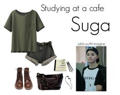 """studying at a cafe"" by bts-outfit-imagine ❤ liked on Polyvore featuring art, simple, kpop, korean, bts and Suga"