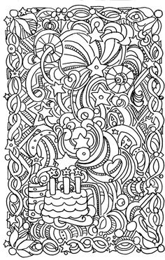 Birthday Doodle  Coloring pages colouring adult detailed advanced printable Kleuren voor volwassenen coloriage pour adulte anti-stress