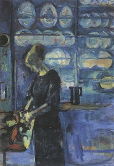 "huariqueje: "" From my blue kitchen - Ludvig Karsten , 1913 Norwegian, 1876-1926 Oil on canvas, """