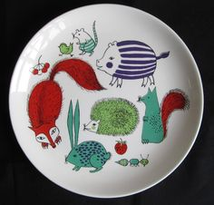 Vintage 60s Arabia Finland Children's Plate Animals: Beautiful illustrations in greens, red, purple and black showing a bunny, fox, hedgehog and more.