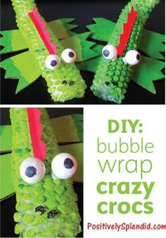Bubble Wrap Crocodiles! This is one of the most adorable #kidscrafts ever! #preschool