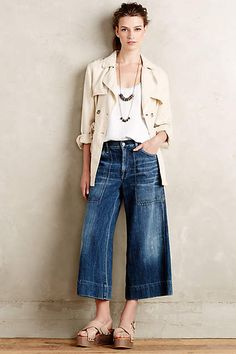 Citizens of Humanity Posie Wide-Leg Crop Jeans - anthropologie.com