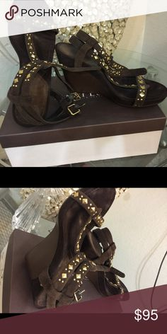 sandals brown wedge leather/suede Nine West Shoes Wedges