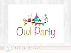 Owl Logo Design Party Logo Children Logo Kids by RusticMelody1