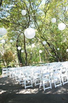 ideas for backyard wedding ceremony decorations paper lanterns Backyard Wedding Decorations, Wedding Backyard, Tree Decorations, White Paper Lanterns, Wedding Paper, Paper Lantern Wedding, Wedding Rentals, Outdoor Ceremony, Wedding Flowers