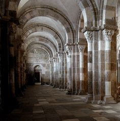 Vézelay - the earliest part is Romanesque style with rounded arches and banded marble