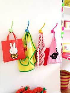 Colorful Hooks (and bags).