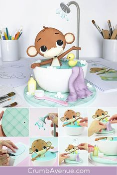 sugar craft, cake decorating, fondant, gum paste, monkey, baby shower, birthday, cute, monkey, cake topper, figure, figurine, how to make, step by step, tutorial, templates, pattern, Crumb Avenue, idea, clay, inspiration, shower, bath, bubbles, bubble, water, towel, duck, bathroom, 1st, jungle animals, animal, tiles, cake board, drops, bottle, brush Cake Topper Tutorial, Cake Toppers, Fondant Figures, Sugar Animal, Safari Cakes, Cake Templates, Fondant Animals, Unicorn Cake Topper, Sugar Craft
