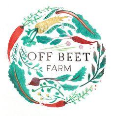 Off Beat Farms - Sarah Burwash, illustration, food, logo, veg, drawing, lettering, allotment, farm, plants