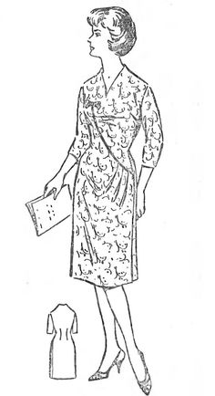 Free Vintage Asymmetric Dress with Undercut Sewing Draft Pattern