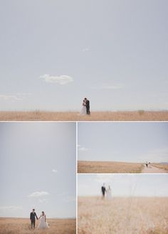 Bride and Groom portraits in an empty field. all the negative space! Field Wedding, Farm Wedding, Negative Space Photography, Couple Portraits, Couple Photos, Amazing Photography, Wedding Photography, Once Wed, Wedding Inspiration