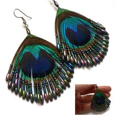 Pebble London Exquisitely Beaded Peacock Feather Drop Earrings ...