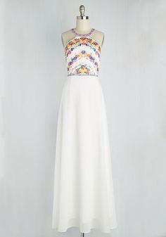 Radiate with Destiny Dress in White. Its as if fate brought you together with this white chiffon gown - thats how perfect it feels when you zip into its floral bodice! Gala Dresses, Spring Dresses, Cute Dresses, Retro Vintage Dresses, Vintage Inspired Dresses, White Chiffon, Chiffon Gown, Mod Dress, Dress Up