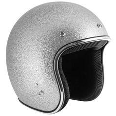 Outlaw Retro Silver Mega Flake Open Face Helmet