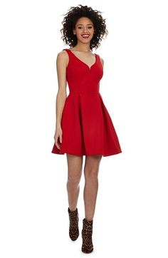 Donna Morgan V-Neck Scuba Knit Fit & Flare Dress available at #Nordstrom
