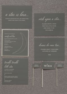 Star Light, Star Bright Baby Shower Theme. Have guests wishing on every star they see with glittering menus, place cards and decorations that tie this theme together.
