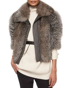 Brunello Cucinelli Fox Fur & Wool-Blend Coat $17310