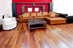 Lovely Brown Red & Black Interior Living Room with Wood Floor