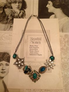 Green vintage rhinestone brooch statement necklace $35