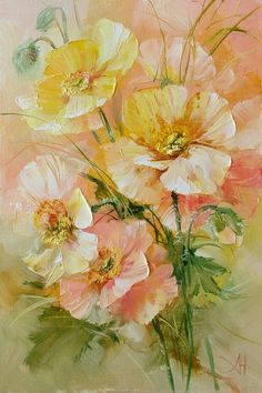 Delightful still life of Anna Homchik. Discussion on LiveInternet - Russian Service Online Diaries Oil Painting Flowers, Abstract Flowers, Watercolor Flowers, Painting & Drawing, Watercolor Paintings, Watercolour, Art Floral, Flower Pictures, Botanical Art