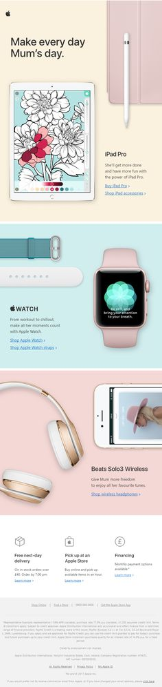 Mother's Day Recommendation Email from Apple #EmailMarketing #Email #Marketing #MothersDay #Mothers #Day #Hitech #Technology