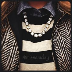Ellen Tracy chevron wool and leather jacket. striped wool sweater. blue & white striped broadcloth. pearl necklace.