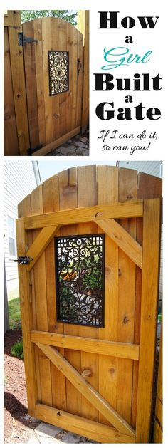 How to build a gate with a decorative window by Confessions of a Serial Do-it-Yourselfer - My Backyard Now Backyard Projects, Outdoor Projects, Home Projects, Backyard Ideas, Building A Gate, House Building, Building Design, Verge, Wooden Gates