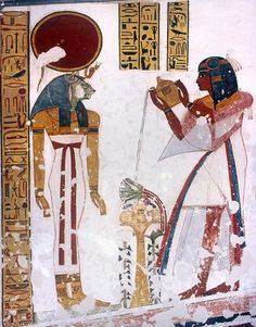"Prince Montuherkhepeshef, son of King Ramses IX, offering a libation to the Goddess Sekhmet;  from the ""House of Eternity"" of Montuherkhepeshef, (KV 19), West Diospolis Megale, Thebes"
