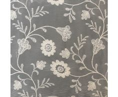 Ivory Nylon Cotton Blend Embroiered Lace Fabric with Floral Denisse Blooms