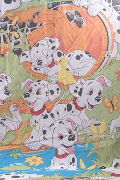 Vintage Disney 101 Dalmatians Twin Sheet Set & Pillowcase material fabric 1996  The Pink Room  161021 by ThePinkRoom