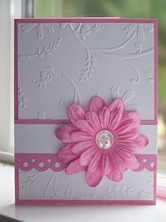 Embossed any occasion card with flower embellishment. Simply stunning! lie the button centre