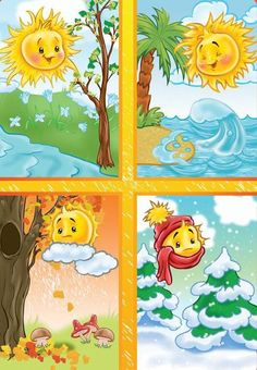 TOUCH esta imagen: Seizoenen by Wampie Weather For Kids, Preschool Weather, Four Seasons Art, Seasons Of The Year, Seasons Activities, Preschool Activities, Weather Seasons, School Decorations, Kids Education