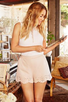 Faux Suede Eyelet Shorts by LC Lauren Conrad