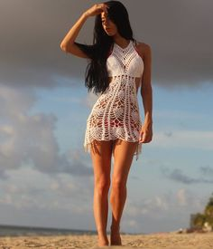 Crochet dress crochet bikini cover beachwear by Elegantcrochets