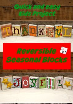 These reversible blocks make the perfect seasonal decorations! Thanksgiving decorations on one side and christmas decorations on the other! Great kids craft