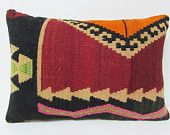 kilim lumbar pillow 16x24 designer rug turkish pillowcase tapestry throw pillow upholstery fabric country primitive decor red pillows 22280