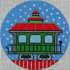 NEEDLEPOINT HANDPAINTED AMANDA LAWFORD CHRISTMAS ORNAMENT TRAIN CAR DC DESIGNS!! Here it is!! Brand New! Get right to work on this gorgeous 18 mesh design. PRODUCT DETAILS: - 18 Mesh Canvas - Size is