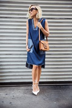 Damsel In Dior | Acne Studios Two Tone Shift Dress; Aquazurra White Lace Up Leather Flat; Saint Laurent Nico Satchel Bag