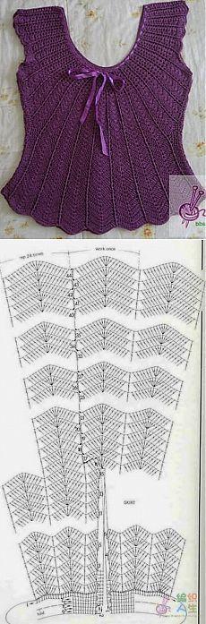 Sleeveless crochet top ~~ Вязание крючком-топик