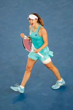 Alize Cornet Photos - Alize Cornet of France celebrates winning match point in her second round match against Julia Goerges of Germany on day three of the 2018 Australian Open at Melbourne Park on January 17, 2018 in Melbourne, Australia. - 2018 Australian Open - Day 3 Australia 2018, Melbourne Australia, Match Point, Tennis Fashion, Australian Open, Opening Day, January, Germany, France
