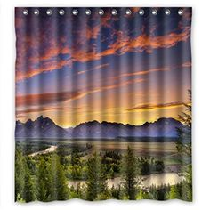 Shower Curtain,Nature,Summer Scene by Mountain Valley with Rainbow Over The Lake Sunny Day Image,Bathroom Decor Set with Hooks,36x72,Hunter Green Blue