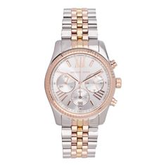 This would make a lovely birthday gift to myself!!! Silver/Rose Gold Stainless Steel Detailed Watch - Michael Kors