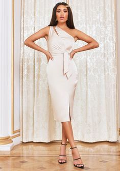 Satin Midi Dress, Satin Dresses, Lavish Alice, Belt Tying, Champagne, One Shoulder, Feminine, Tie, Elegant