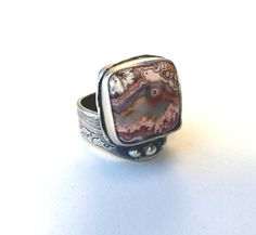 Crazylace agate ring, silver ring, statement ring by MandanaStudios on Etsy
